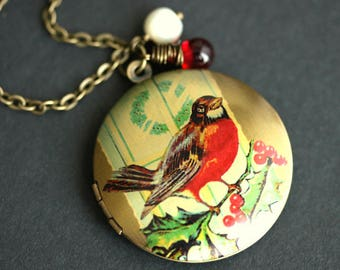 Robin Locket Necklace. Bird Necklace with Red Teardrop and Fresh Water Pearl Charm. Robin Necklace. Bronze Locket. Handmade Jewelry.