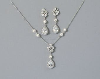 Bridal Jewelry Set Rhodium Silver Crystal Necklace Crystal Earrings Necklace Wedding Earrings Wedding necklace KELLY Set Wedding Jewelry