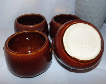 Vintage 1960's West Bend Brown Pottery Bean or Onion Soup Bowls Cups Set of 4
