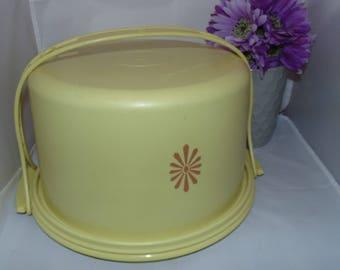 Vintage Tupperware Harvest Gold Sunburst Cake Carrier Taker Saver Carolier Handle 684 683 624