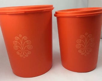 Two Vintage Tupperware Orange Canisters 809 811 with Servalier Seal lids