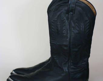 vintage tony lama black cowboy boots men's size 10D