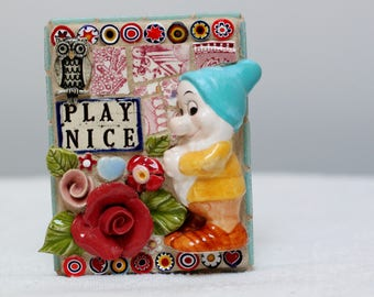 PLAY NICE, mosaic art, Snow white and the Seven Dwarfs, Bashful