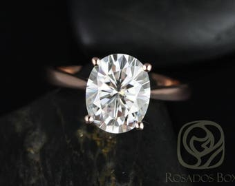 Rosados Box Ready to Ship Skinny Lois 10x8mm 14kt Rose Gold Oval F1- Moissanite Tulip Cathedral Solitaire Engagement Ring