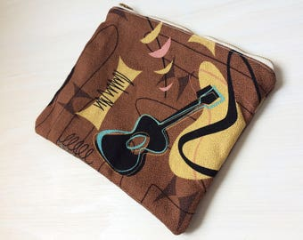 Large Pouch - Cosmetics Accessories Makeup Bag - Travel Pouch - Clutch Purse - iPad Mini Zip Sleeve - Tablet Case - Purse Organizer -Guitars