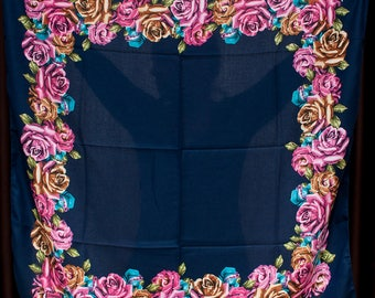 Floral Shawl. Dark blue chale russe, Chic scarf, Mantón hustka. Multicolour Pashmina head scarf, Cashmere Shawl Platok. Christmas gift