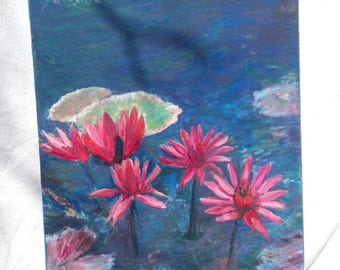 Vintage Hand Painted Pink and Red Flowers and Water