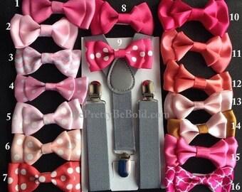 Blush bow tie Suspenders Boy Blush Bowties Newborn Baby kid Toddler Necktie Men Groomsmen Wedding Ring Bearer Baby Shower Present Photo Prop