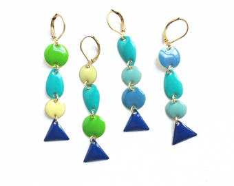 Blue Yellow Teal Green Navy Geometric Mismatching Enamel Drop Earrings