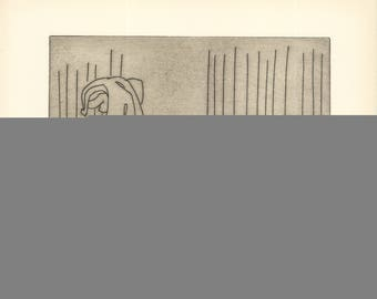 Ben-Zion-Enkidu Sees the Priestess Disrobing (VII)-1966 Etching-SIGNED