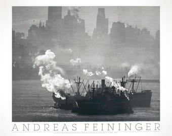 Andreas Feininger-Lower Manhattan and the Hudson River, NY (1950)-1988 Poster