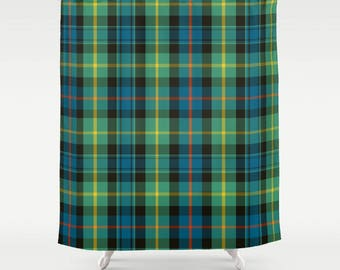 Custom Shower Curtain | Scottish Plaid | Green & Blue Bath | Extra Long Shower Curtain | Custom Home Decor