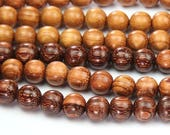 Bayong Wood Beads for Malas, Light Brown, 8mm Round - 15.5 inch Strand - eW675-8