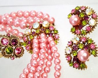 FREE Shipping Vintage Pink Faux Pearl Rhinestone 4 Piece Demi Parure Green Purple Bubblegum Austrian Crystal Necklace Earrings Set Ring D&E