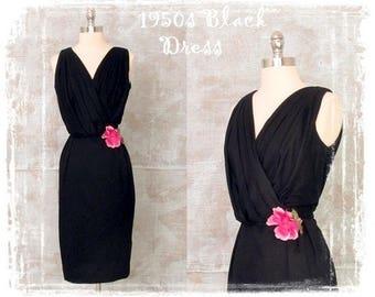 Vintage 1950s Dress, 1950s Black Dress, Evening Dress, Party Dress,Hourglass Dress, Small