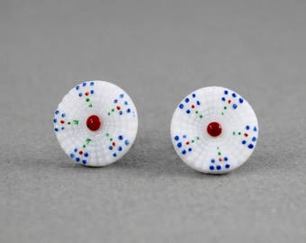 Dotted Flower - vintage Czech glass button post earrings, up cycled, repurposed surgical steel post earrings