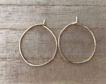 Lightly hammered gold hoop earrings, textured hoops, fine hoop earrings, small hoops, big hoops, gold hoops, gold jewelry