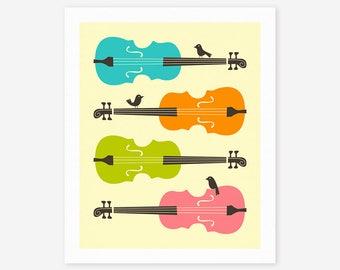 BIRDS 0N CELLO STRINGS (Giclée Fine Art Print, Photo Print or Poster Print) Colorful Pop Art