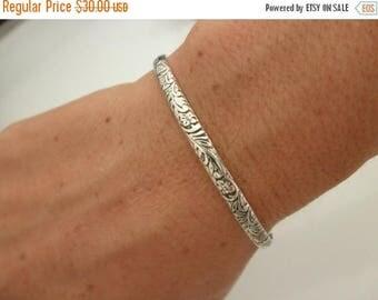 10%0FF Sterling silver Cuff bracelet flower pattern