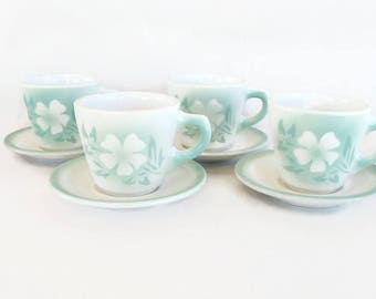 Syracuse restaurant ware midcentury green stencil flowers 4 cups and saucers Millbrook