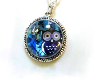 Cute Purple Owl Photo Charm Pendant Necklace Long Blue Beaded Necklace Woodland Friends Minimalist Jewelry Gifts for Her Necklaces for Women
