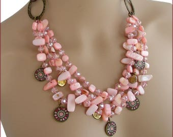 Soft pink MULTISTRAND, enamel, Pearl charm necklace, Crystal and antique metal