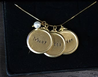 Gold Necklace, Gold Disc Necklace, Gold Disc, Custom Hand Stamped, Personalized Stamp, Engraved, Monogram, Name Necklace, Children, Stamping