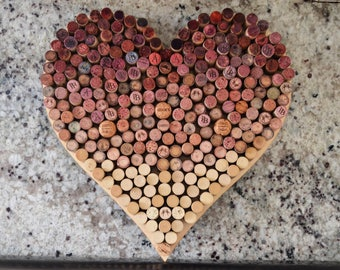 Wine Cork Wall Art wine cork heart | etsy