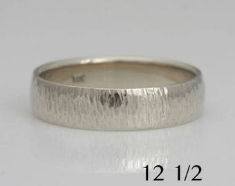 Men's 14k white gold wedding band, size 12 1/2 and custom sizes, comfortable fit, #458.