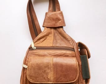 Boho Leather Backpack, Brown Hippie backpack, Patcheork leather backpack