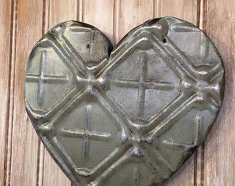 Ornate light blue/green heart designed with antique tin ceiling tile