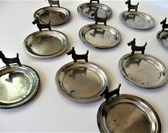 Set of 10 Scottie dog Pewter coasters, vintage Westie terrier dog coasters, Barware, animal lover, dog accessory, Rice Pewter, gift idea