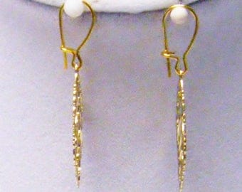Small Gold Plated Filigree Leaf Earrings