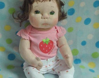"""Fretta's OOAK life size 21.5"""" /  55 cm Soft Sculpture Baby.  Light Brown Hair Green Eyes Doll. Child Safe Textile Baby Doll. Empathy Doll"""