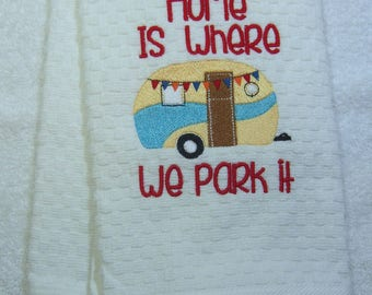 Camper Caravan Embroidered Cotton Kitchen Towel Ready to Ship
