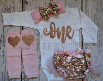 First Birthday pink and gold girl outfit- Pink and gold first birthday set- Pink and gold 1st birthday set - Pink  and gold birthday party