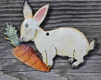 Rustic Animal Decor. Peter Rabbit. White Rabbit. Metal Wall Art. Farmhouse Decor.  Nursery Decor. Wall Sculpture. Easter Decoration.- WA38