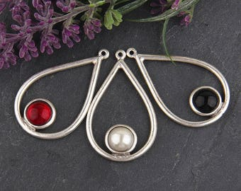 Red, Teardrop Contemporary Pendant with Focal Round Glass Bead, 1 piece // SP-310