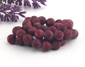 Cherry, Matte Agate Mala Beads, Gemstone Mala Beads, Yoga Beads, Prayer Beads, Meditation Beads, 1 strand, 45 beads // BD-067