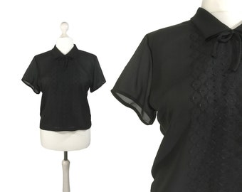 1950's Vintage Blouse | Large | Black 50's Blouse | Button Back Blouse | Short Sleeved Top | Shirt Collar With Bow