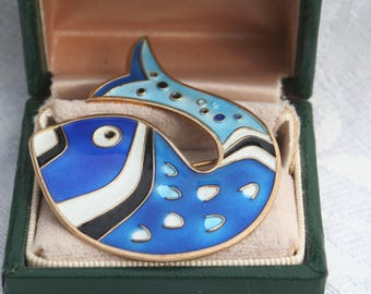 Vintage David Andersen Norway Blue and White Leaping Fish Guilloche Enamel Sterling Silver Brooch