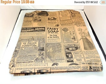 On Sale 50 Vintage Large 12x15 inch  Newsprint Bags, Vintage Newspaper Kraft Party Merchandise Bags,  Photo size #30 weight Gift paper Favor