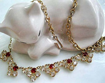 Art Deco Red Crystal Necklace, Petite Adjustable Choker, Mini Flowers, Prongset Round Clear Lead Crystals in Goldtone