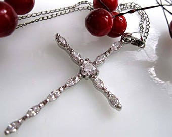 """Sterling Cross Pendant, White Clear Gem Crystals Zirconia, Heart and Marquise Stones, Christian Religious Gift, 19"""" Chain Marvel Sterling"""