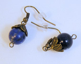 Antique Brass Capped Lapis Earrings