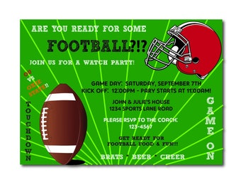 """Football Game Watch Party Invitation   4x6"""" or 5x7""""   Superbowl   NFL   College   Sports   Men   TV   Fall   Winter   Bar   Printable   Guys"""