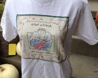 Vintage kitsch What A Friend We Have In Jesus shepherd and lambb tshirt size medium free domestic ship