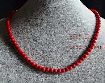 single strand 6 mm red turquoise necklace, red bead necklace, statement necklace,man-made turquoise bead necklaces, flower girl necklace