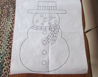 Burlap Door Hanger Snowman with Poinsettia and Check Scarf Pattern!