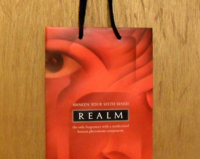 Vintage 1990s Realm by Erox Perfume Promotional Paper Shopping Bag Designer Fragrance Collectible